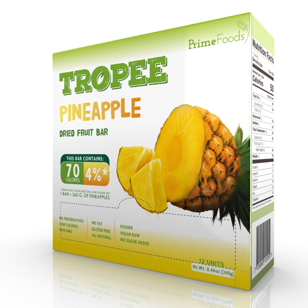 TROPEE Gluten Free Food Fruit Bars - Pineapple 20g, Box of 12. Healthy Snack Bars for the Vegan Diet which are Sugar Free, Kosher Food, Fruit Snacks. Perfect Vegan Gifts with Low Calorie Snacks