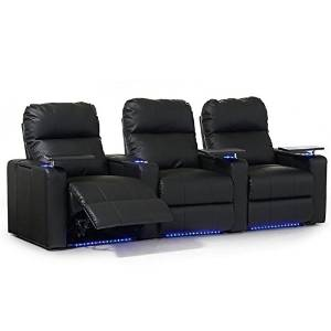 Turbo Straight Manual Recline Bonded Leather 3-Row Theater Seating with Armrest Storage Units and Removable Swivel Tray Tables