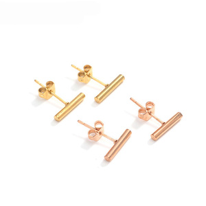 Hot Selling Minimalist Jewelry Fashion Womens 316L Stainless Steel Round Bar Stud Earrings