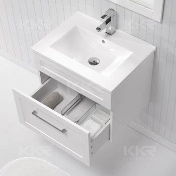 2017 Modern Design Thin Edge Cabinet Basintop Mount Vanity Sinks