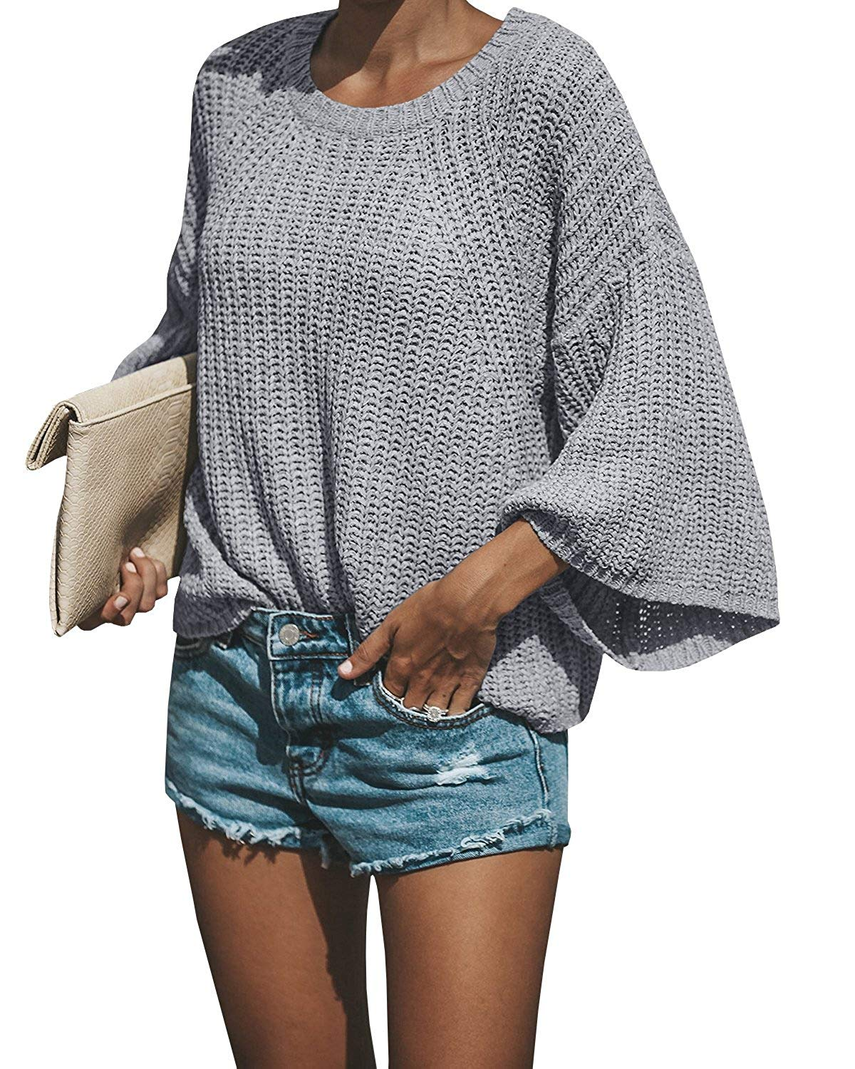 Farktop Womens Sweaters Oversized Crew Neck 3/4 Wide Sleeve Pullover Knit Jumper Tops