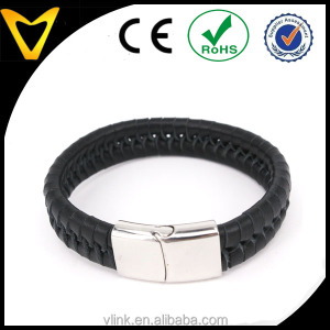 Black flat leather bracelet braided leather bracelet with magnetic clasp