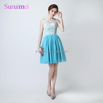 100% Real Sample Ice Blue Cheap Short Prom Dresses 2018 Vestido De ...