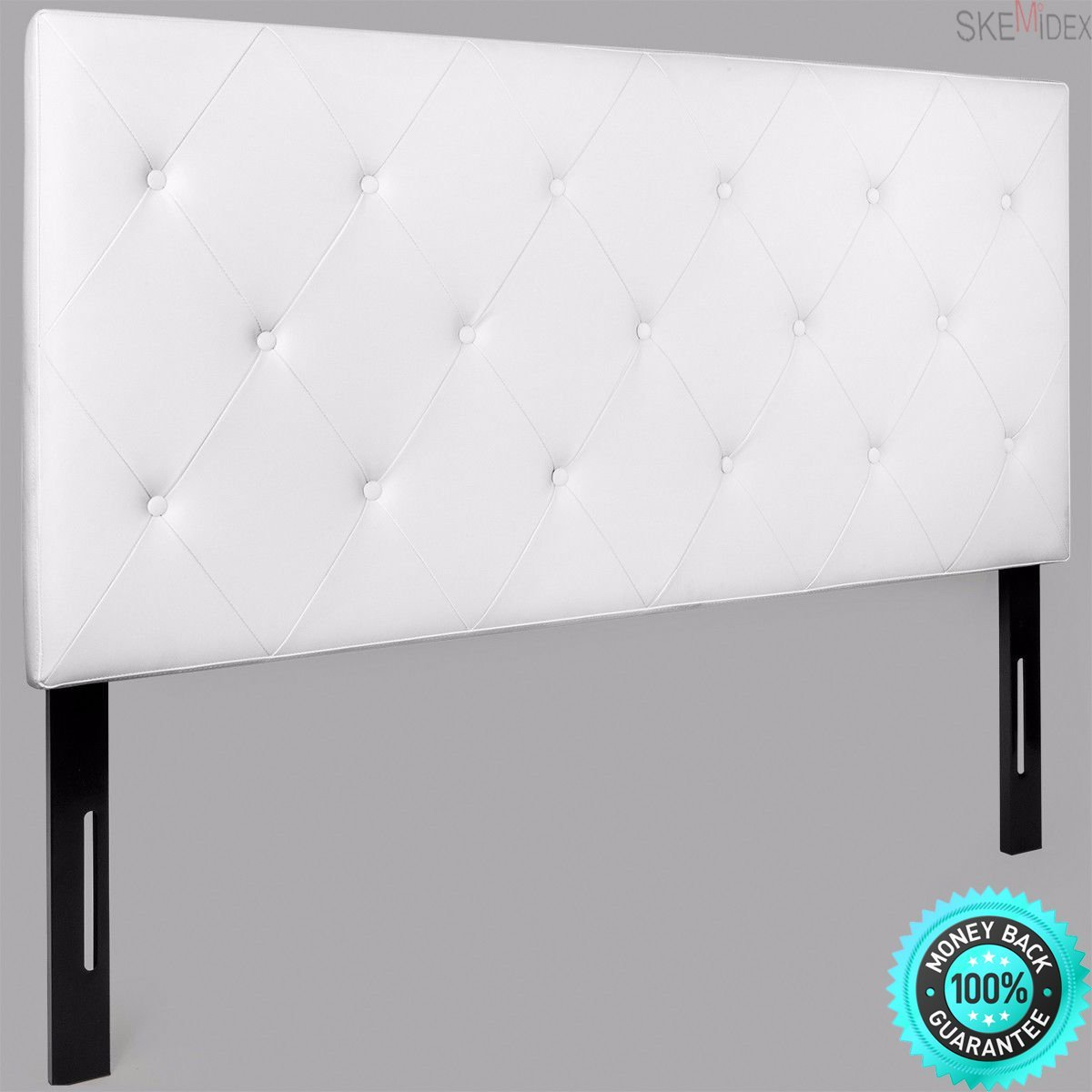 SKEMIDEX---Upholstered Tufted diamond button Headboard Queen Modern pu leather Bedroom And headboard and footboard bed frame king headboard and footboard sets wood headboard and footboard sets