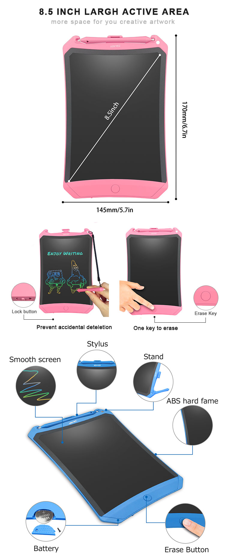 Newyes Factory 8.5'' Jot Drawing Board Digital Notepad Paperless LCD Writing Tablet For Kids
