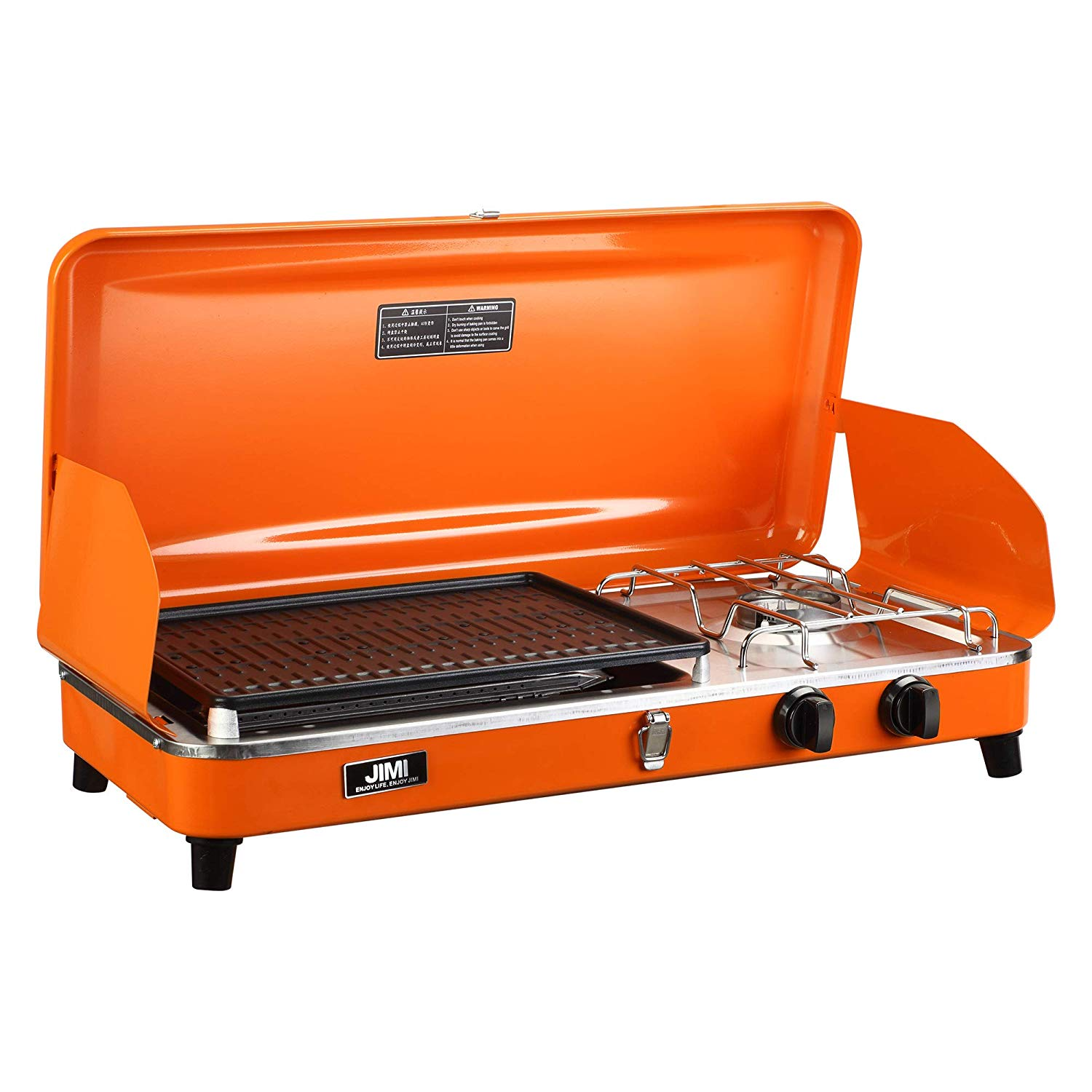 5a05efe6434abe Get Quotations · Outdoor Dual-Burner Camping Grill/Stove Portable Gas Grill  Tailgating Cooker with Hose and