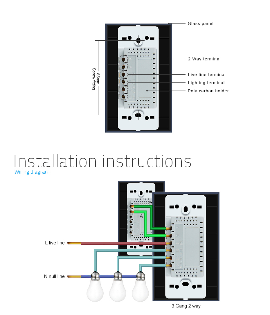 Livolo Power Wall Touch Screen Light Wireless Remote Switch 2 Gang Receptacle Box Wiring Diagram Electrical 110220v 3