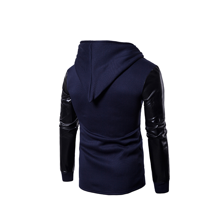 Manufactory price elegant soft leather long sleeve mens classic hoodies