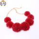 NLX-01159 red latest 100% handmade seed bead necklace flower shape sew small beads necklace