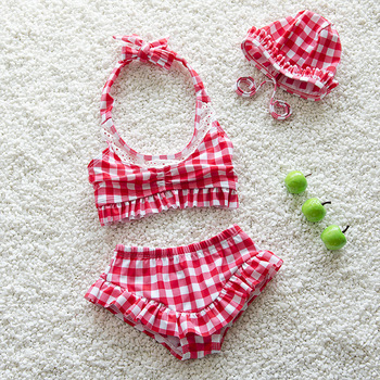 Bc1075 2017 New Baby Girls Swimming Suit Fashion Bow Plaid Lace