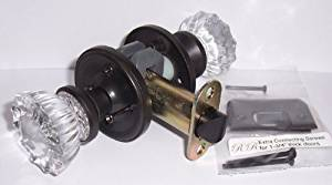 12 point Fluted Depression Crystal Privacy Set Oil Rubbed Bronze Reproduction-1900 Our Best Privacy Retrofit Kit to Fit Modern Pro-drilled Including, Dollar for Dollar Your Greatest Value. Includes Many Features upgraded to Premium knobs and hardware