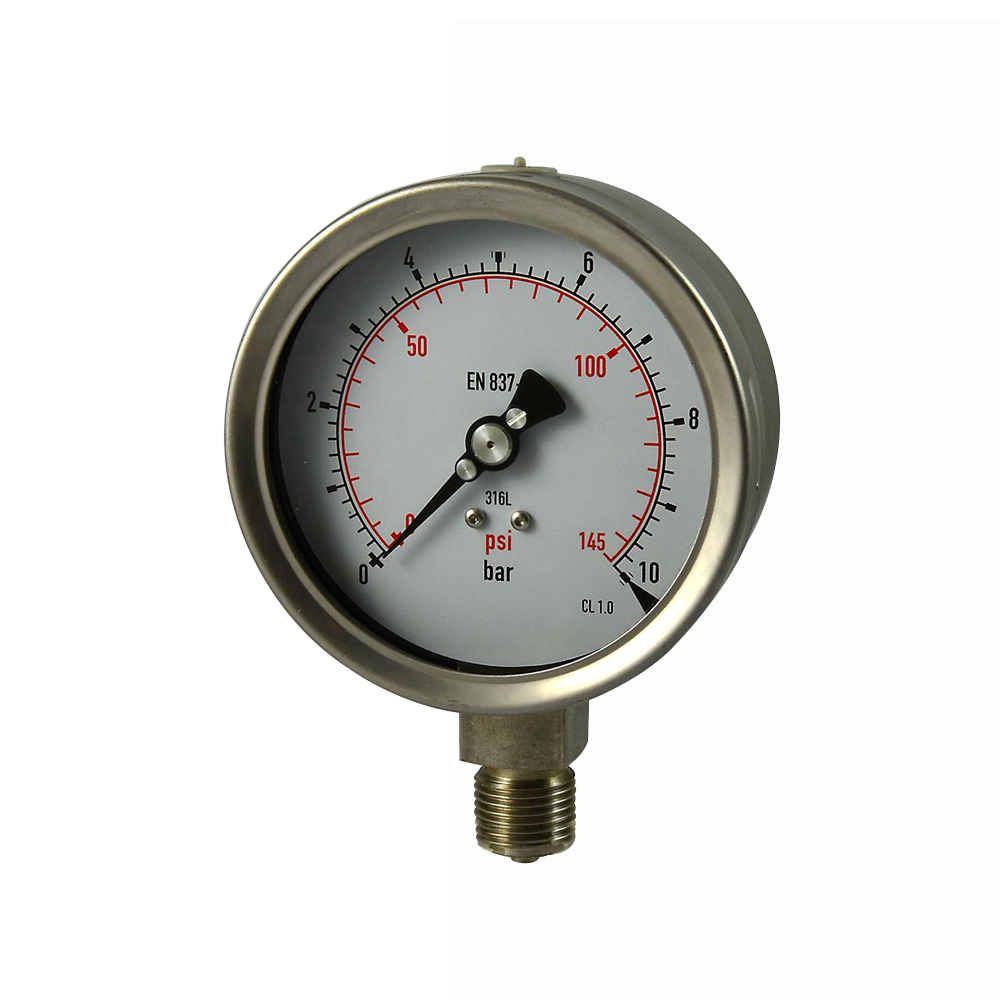 100mm All stainless steel laser welding pressure gauge silicone oil filled pressure gauges