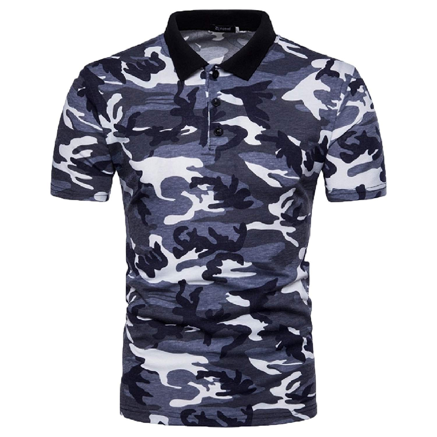Zimaes-Men Short Sleeve Plus Size Turn Down Collar Solid Polo Top Tshirt