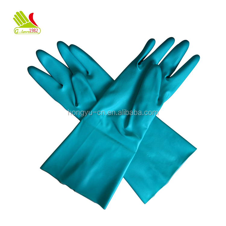 Top Seller Blue-green Food Grade Flocklined Nitrile Industrial Hand Gloves Manufacturers