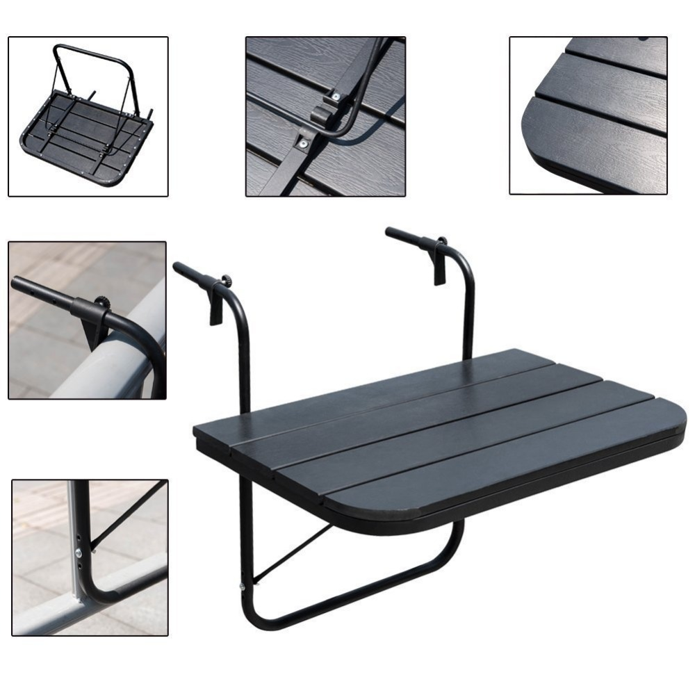 Promotion List Cheap Metal Furniture Folding Small Wooden Coffee Bar Tailing Outdoor Wall Mounted Side Balcony Hanging Table
