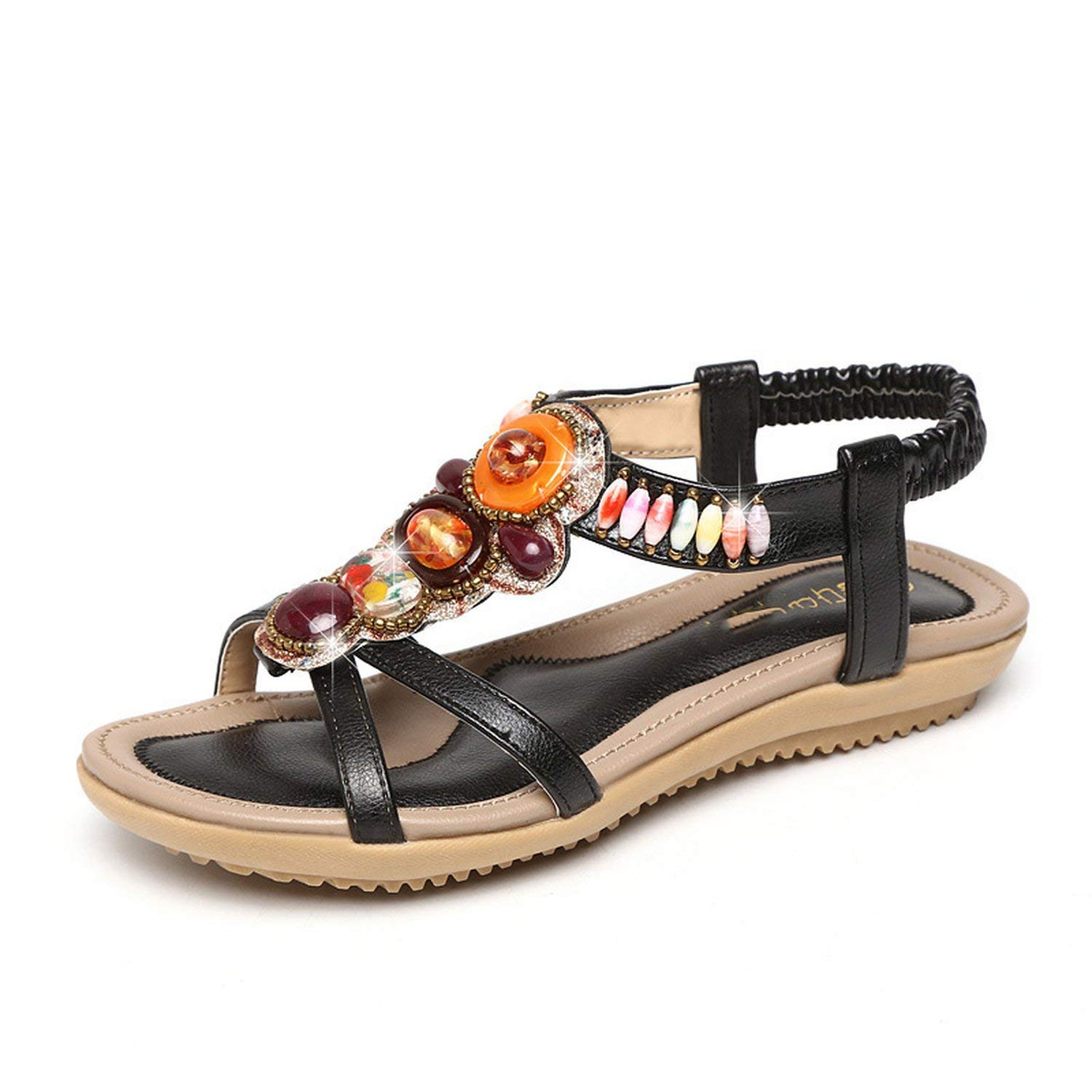 1ce3cdcd96ab Get Quotations · Fish Flat Flat Sandals Beaded Bohemia Comfort Wedge Sandals
