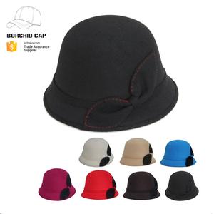 d12f6319b1d74 womens wool cloche bucket winter hat with bowknot custom logo printed  wholesale girls wool felt cloche hat