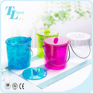 China wholesale clear plastic custom double wall mini ice bucket with lid with handle