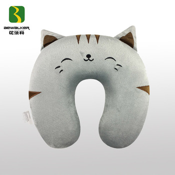 cute animal cat shape memory foam filling travel neck pillow