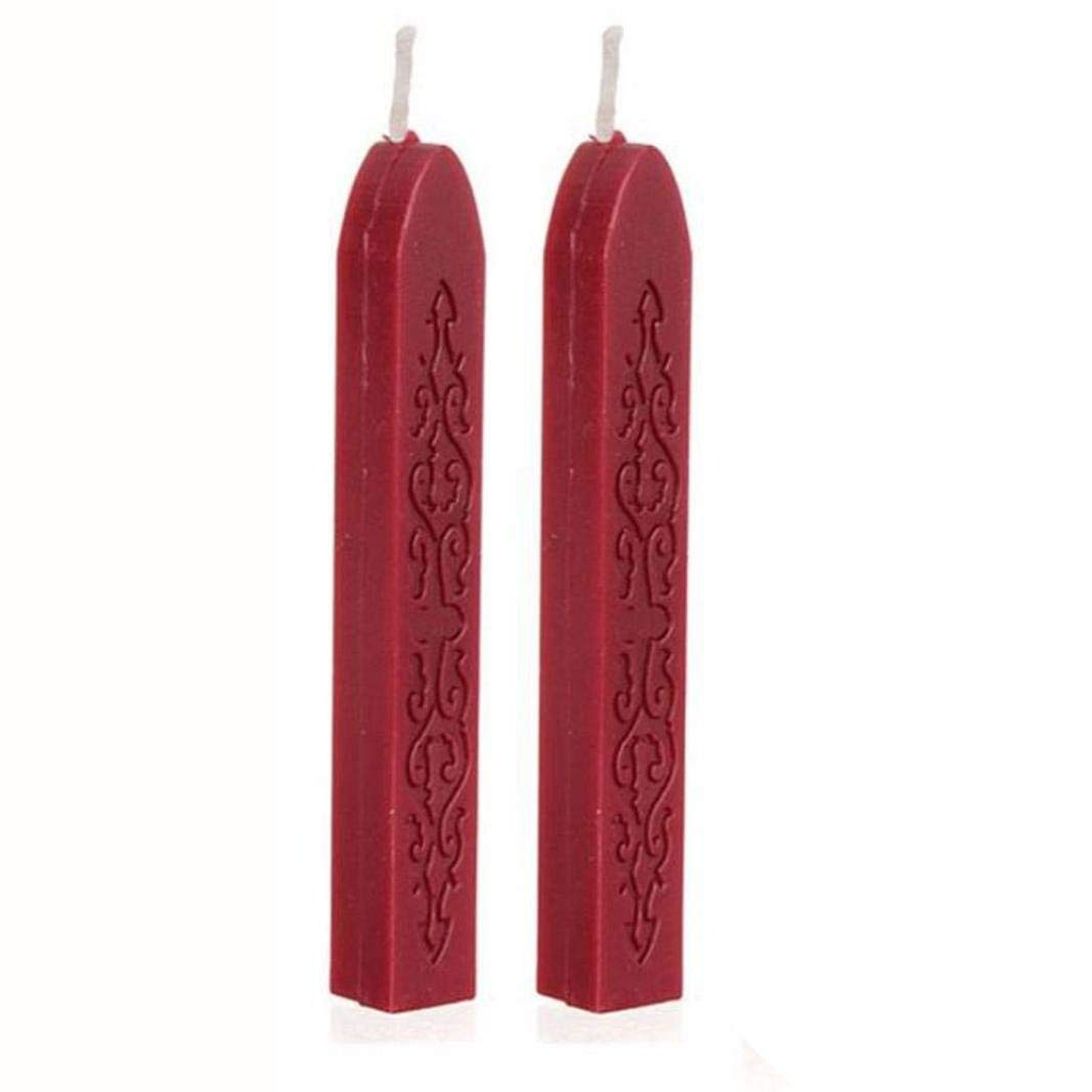 2 Pcs Sealing Wax Stick with Wicks, Vintage Totem Fire Manuscript Sealing Wax Sticks with Wicks Multi-Color Cord Wick Sealing Wax For Postage Letter Retro Vintage Wax Seal Stamp (Red)