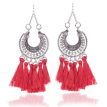 Bohemian Pom Tel Hoop Ethnic Earring Elegant Dangle Style Long Thread Silk