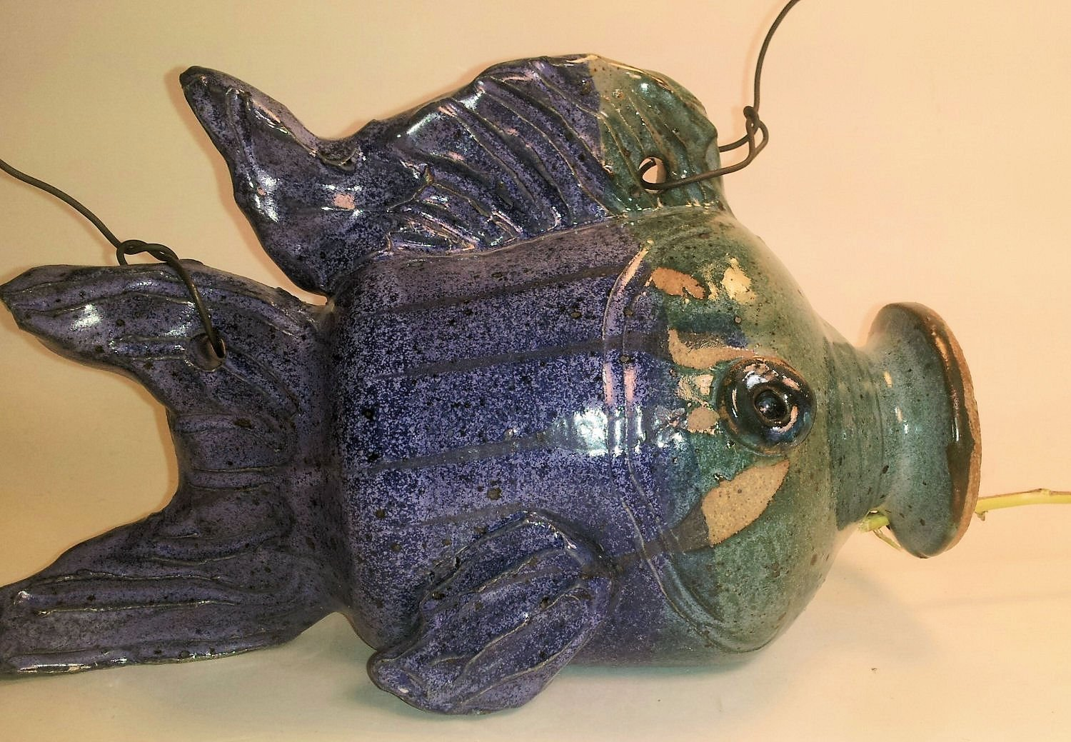 Aunt Chris' Pottery - Hand made Clay Bird House - Primitive Style Shaped Like a Fish - With Rustic Bird Perch - Hangs With Black Wire or Chain - Primitive Blue and Primitive Green Glazed