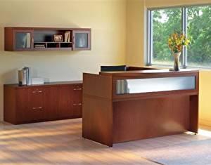 "Mayline L-Shaped Reception Desk 72""W X 84""D X 45""H Desk 72"" X 36""D X 29 1/2""H Return 48""W X 24""D X 29 1/2""H Transaction Counter 72""W X 42""D X 15 5/8""H - Cherry"
