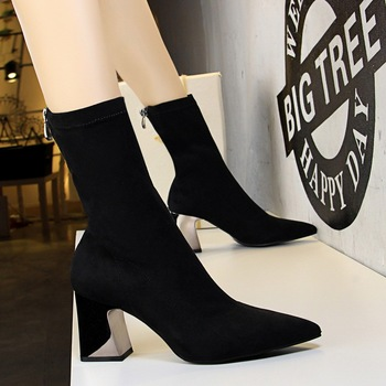 78db88d5a0e5 SS0022 Women short metal heel ankle boots 2018 winter elegant good quality  chunky boot for ladies