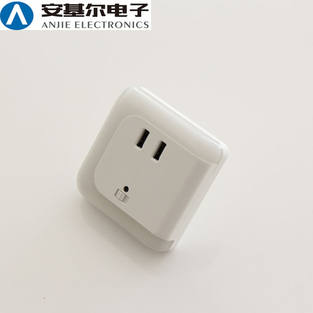 EU Socket Wall Mounted Fast Charging Fast Charging Two USB Charging Ports LED Night Light
