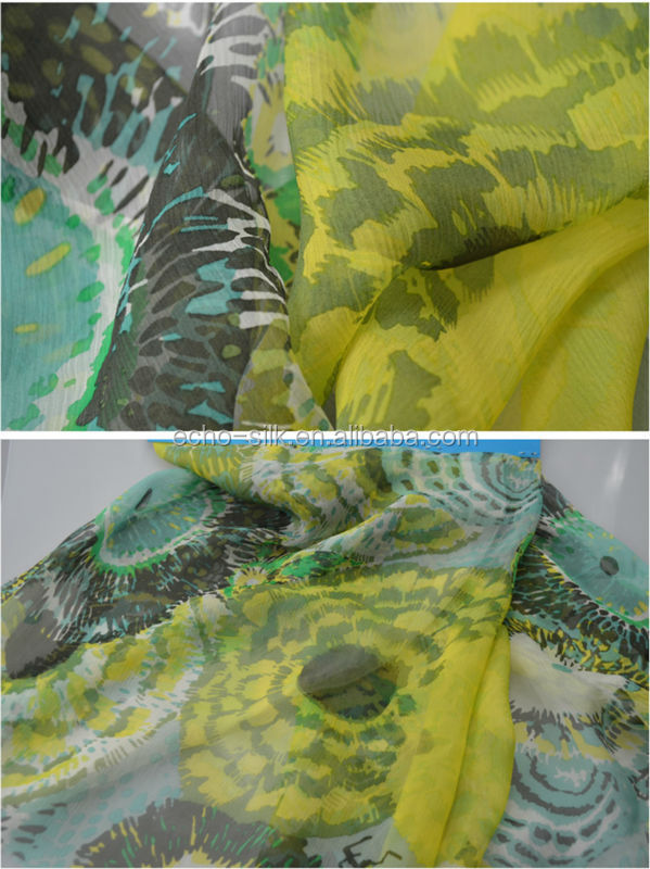 Printed and sand wash silk cdc fabric.