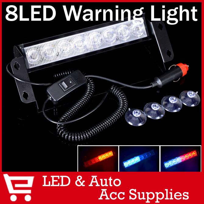 8 из светодиодов синий красный аварийная из светодиодов в-dash полиция строб лампы флэш-flasher предупреждающий сигнал блок 3 режим лобовое стекло лодка грузовик автомобилей