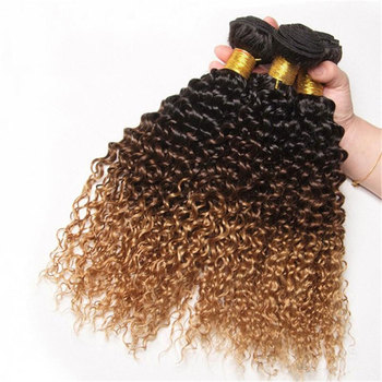 Unprocessed two tone ombre 1b brown short length virgin afro kinky curly human hair weaves