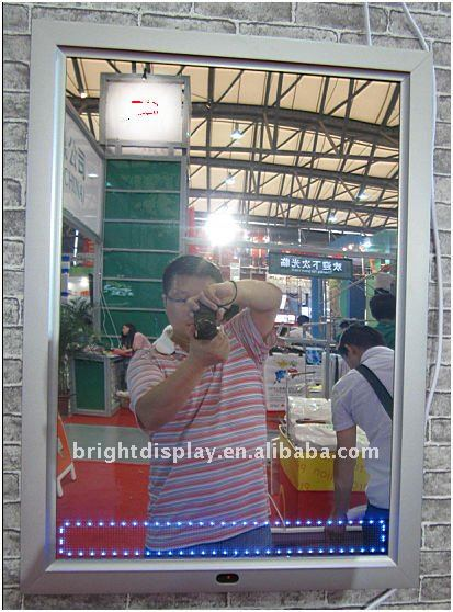 LED magic mirror light box with LED display for <strong>advertising</strong>