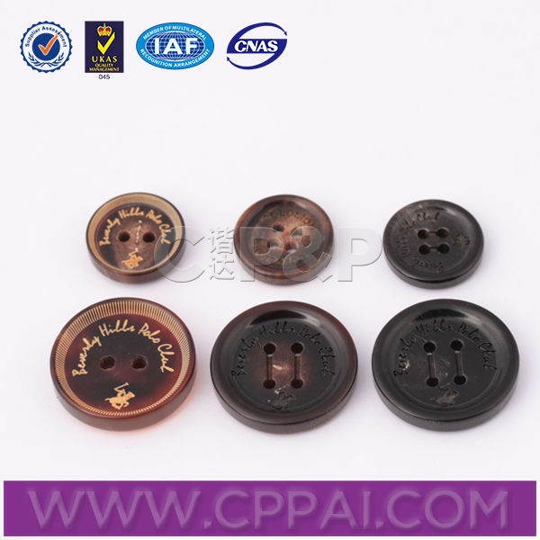 Classic laser brand name real ox horn button for overcoat