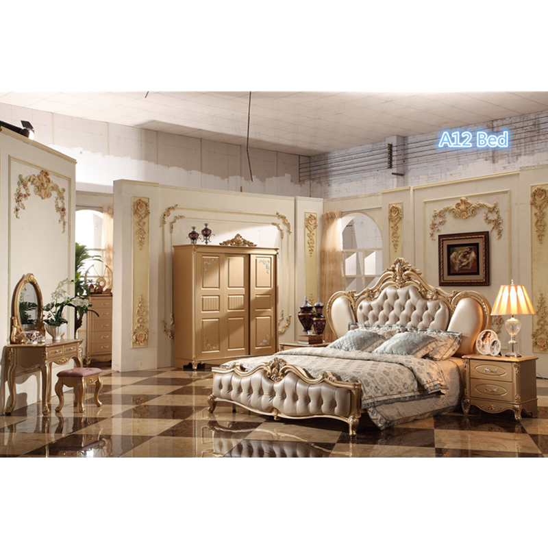 Baroque Style Fancy Bed King Size bedroom set with nightstands