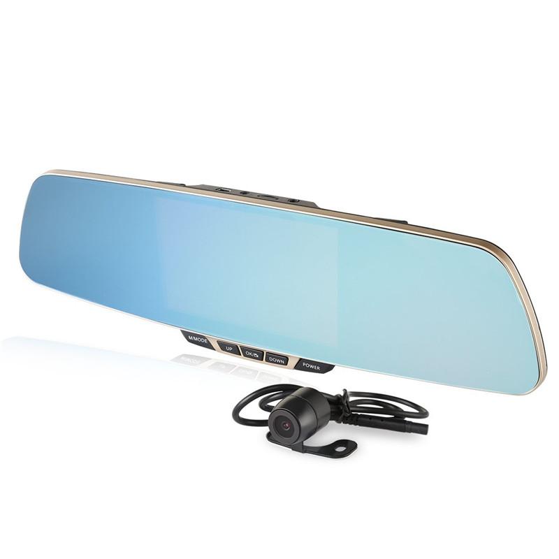 new 5 0 inch top grade car dvr dual camera rear view mirror car camera recorder full hd 1080p. Black Bedroom Furniture Sets. Home Design Ideas