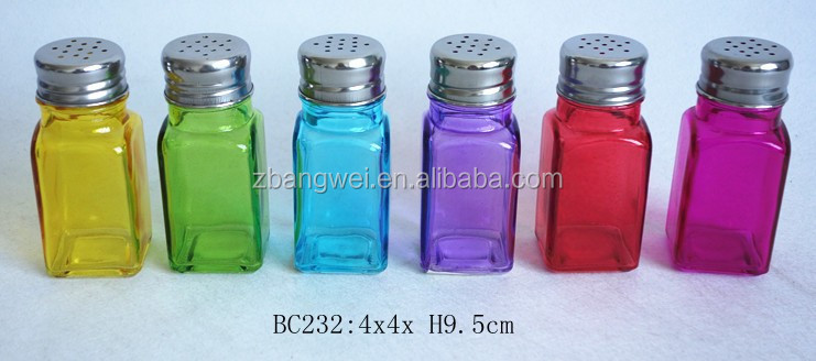 colorful square glass spice jar with metal lid