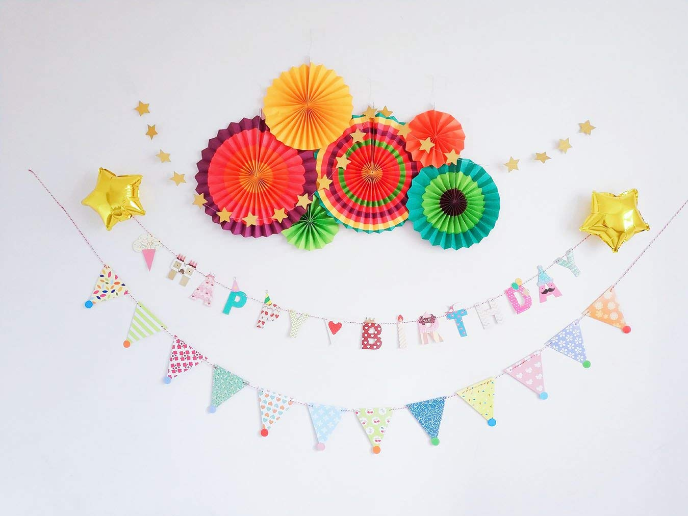 Cheap birthday flower decoration find birthday flower decoration get quotations birthday party decoration pack happy birthday banner paper pom poms tassels paper izmirmasajfo
