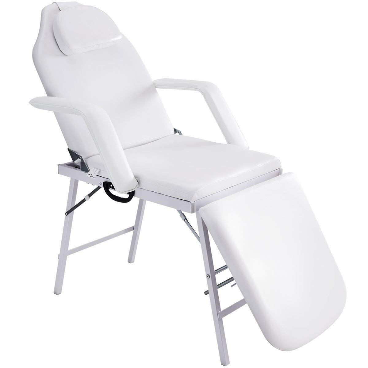 """White 73"""" Portable Bed Spa Salon Massage Tattoo Parlor Chair w/Adjustable Height"""