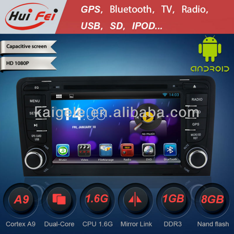 "2-Din 7"" Car DVD Player for Audi A3 Newest Android system + IPOD + Radio + Audio"
