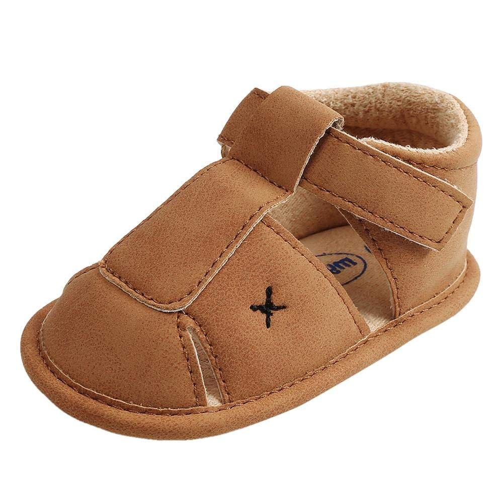EnjoCho Infant Baby Boys Girls PU Leather Soft Sole Anti-slip Summer Sandals First Walkers Toddler Sneakers (Age:9~12 Month, Khaki)