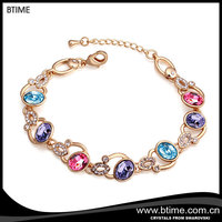16K yellow gold plating charm crystal bracelet crystals from Swarovski