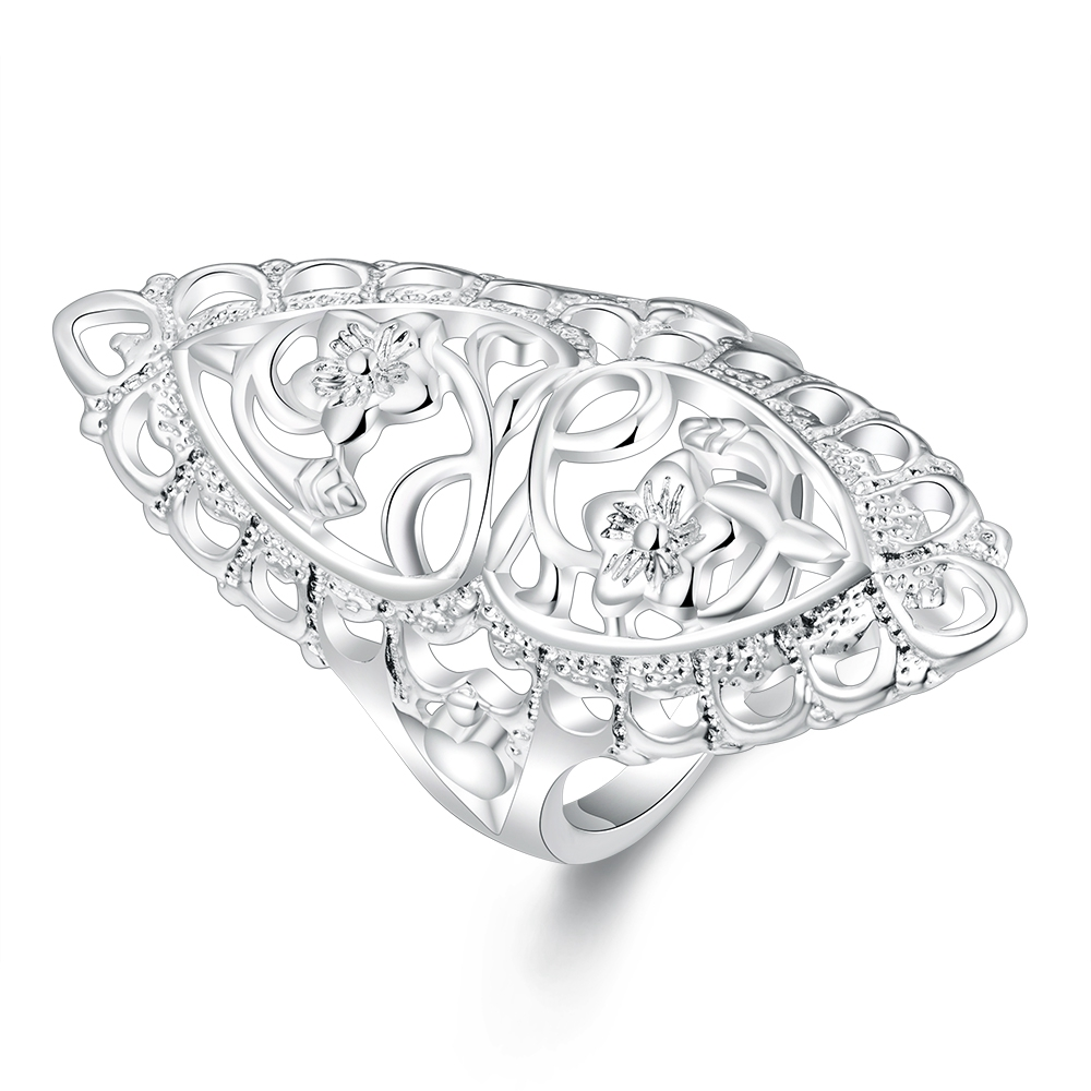 JZ011 JN ally express cheap wholesale ring Trendy Plating silver Vintage Fashion Hollow flower and elegant rings