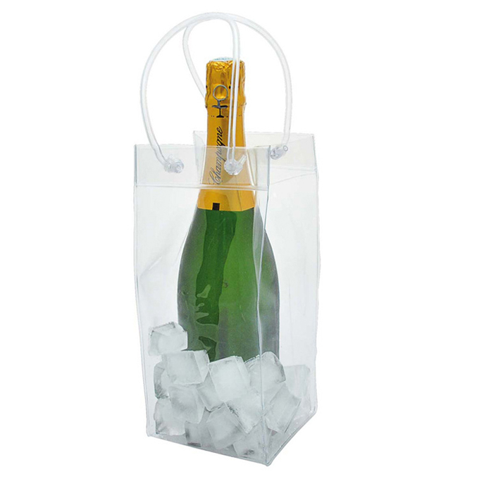 Clear Pvc Durable Easy Carry Portable Wine Ice Cooler Bag and Gift Bag