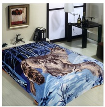 Anime super soft plush raschel wolf printing blanket