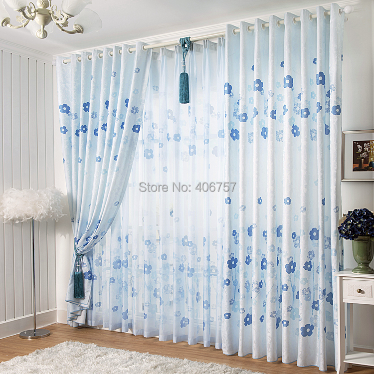 Ready-made Amere modern <font><b>rustic</b></font> blue curtain finished cloth curtain 3M wide*2.6M high can customize&match tulles/veils