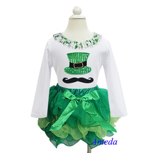 St Patricks Day Green Petal Tutu Plus Bling Green Hat Mustache White Long Sleeves Top 1-7Y