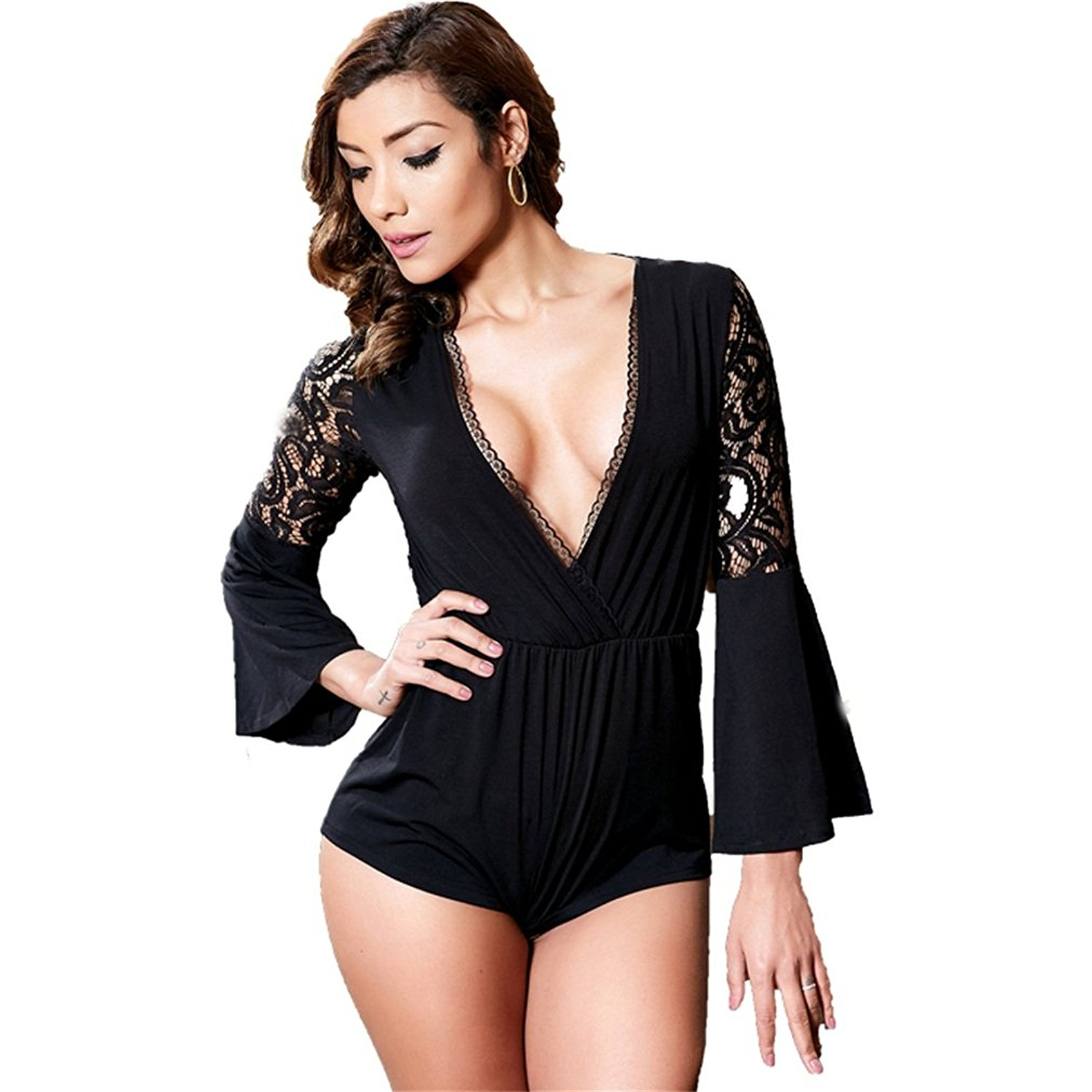 4b6c831b662f Get Quotations · Beauty Garden Summer Women Party Sexy Jumpsuits Lace Solid Deep  V-Neck Flare Sleeve Elegant
