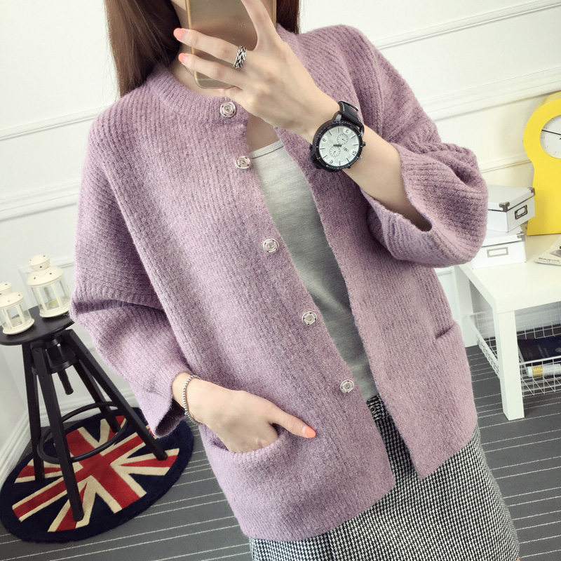 2016 sweater female cardigan autumn and font b winter b font o neck wide sleeved three