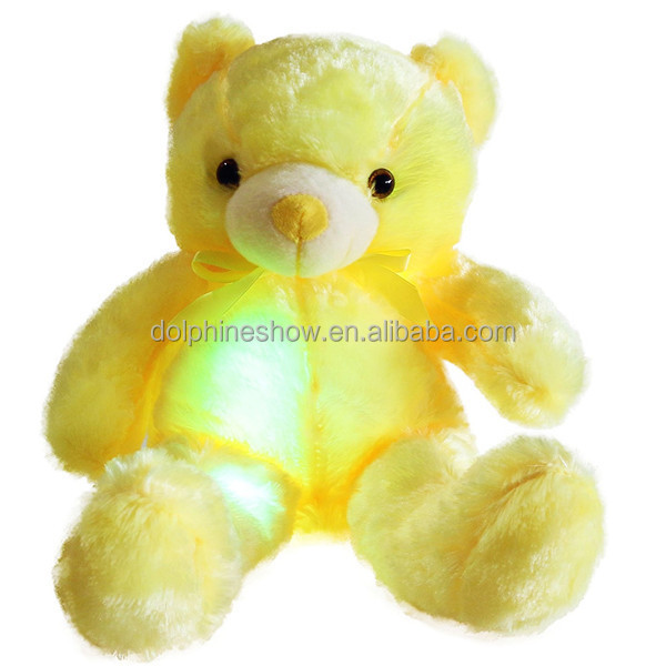 Adorable Night Light Up Plush Toy Led Teddy Bear Wholesale Musical Cartoon Stuffed Animal Soft Plush Yellow Teddy Bear